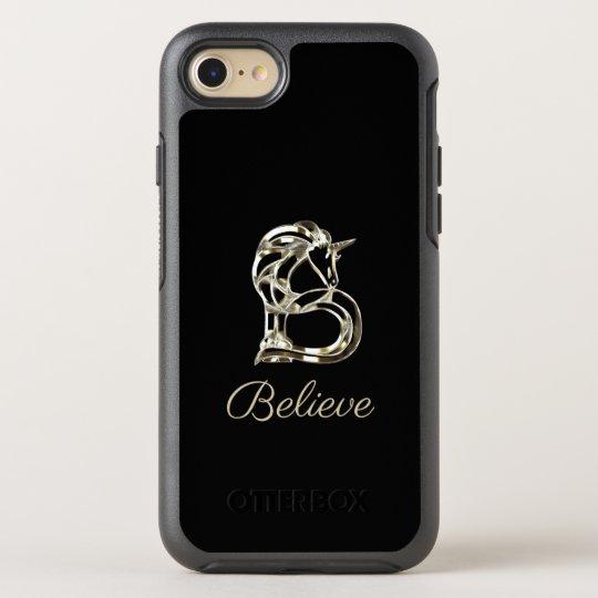 Believe Unicorn Monogram B Black and Gold Elegant OtterBox Symmetry iPhone 8/7 Case