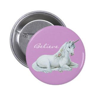 Believe Unicorn Round Button