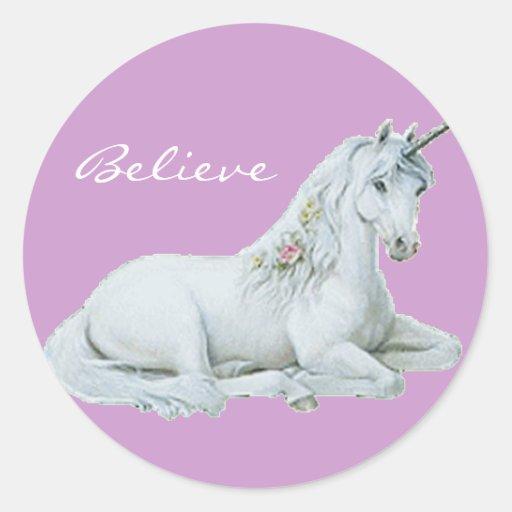 Believe Unicorn Round Stickers