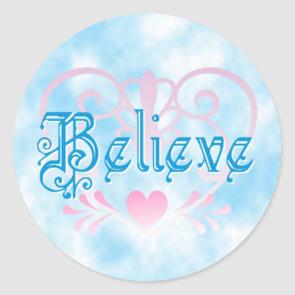 Believe w/ Hearts Round Sticker