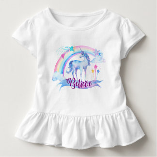 Believe / Watercolor Unicorn Girl's Baby Girl Toddler T-Shirt