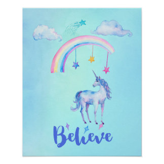 Believe with a Unicorn Under a Rainbow Poster