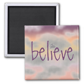 Believe with Multi Colored Clouds magnet