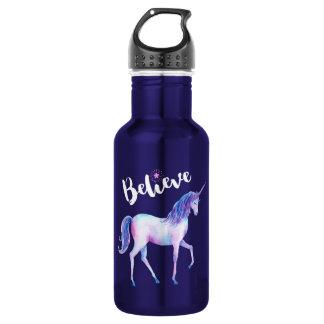 Believe with Unicorn In Pastel Watercolors 532 Ml Water Bottle