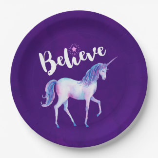 Believe with Unicorn In Pastel Watercolors 9 Inch Paper Plate