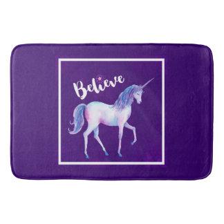 Believe with Unicorn In Pastel Watercolors Bath Mat