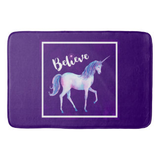 Believe with Unicorn In Pastel Watercolors Bath Mats