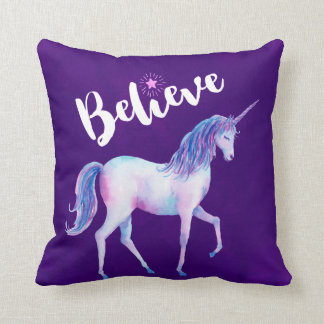 Believe with Unicorn In Pastel Watercolors Cushion