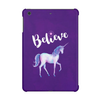 Believe with Unicorn In Pastel Watercolors iPad Mini Case