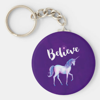 Believe with Unicorn In Pastel Watercolors Key Ring