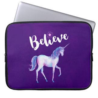 Believe with Unicorn In Pastel Watercolors Laptop Sleeve