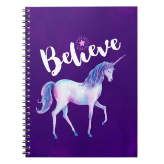 Believe with Unicorn In Pastel Watercolors Notebooks