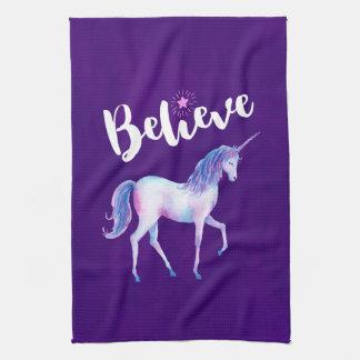 Believe with Unicorn In Pastel Watercolors Tea Towel