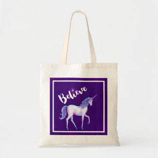 Believe with Unicorn In Pastel Watercolors Tote Bag