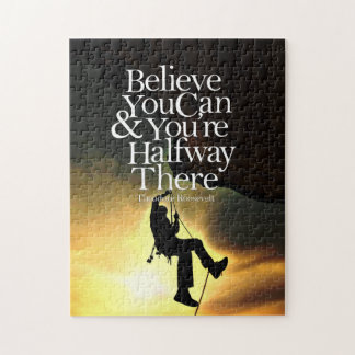 Believe You Can Rock Climber Motivational Quote Jigsaw Puzzle