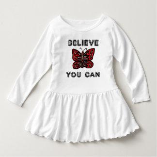 """Believe You Can"" Toddler Ruffle Dress"