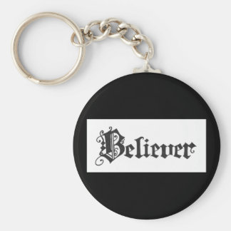 """Believer"" Calligraphy by Colleen Wallen Basic Round Button Key Ring"