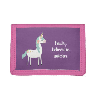Believes in unicorns, little girl gift + name tri-fold wallet