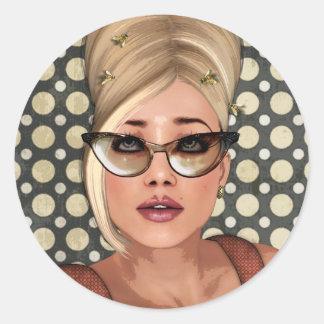 Belinda Beehive Retro Chic Stickers