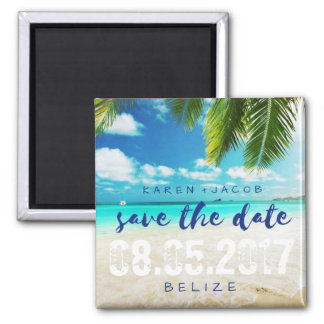 Belize Beach Destination Wedding Save the Dates Square Magnet