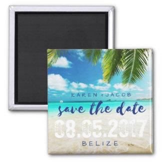 Belize Beach Destination Wedding Save the Dates Square Magnet