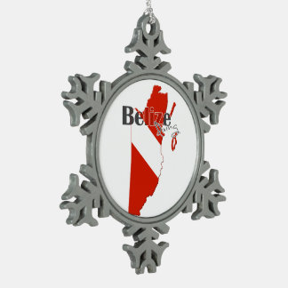 Belize Diving Snowflake Pewter Christmas Ornament