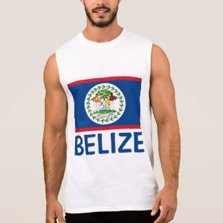 Belize Flag Customizable Blue Text Sleeveless Shirt