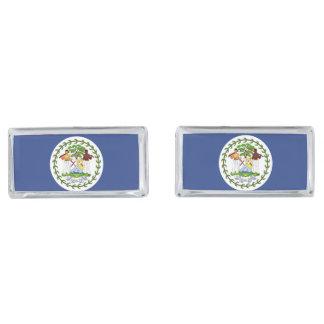 Belize Flag Silver Finish Cufflinks
