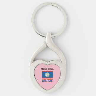 Belizean Flag and Belize with Name Key Ring