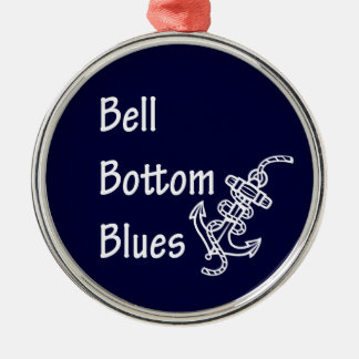 Bell Bottom Blues Silver-Colored Round Decoration