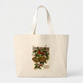 Bell Holly Snow Gold Horseshoe Jumbo Tote Bag