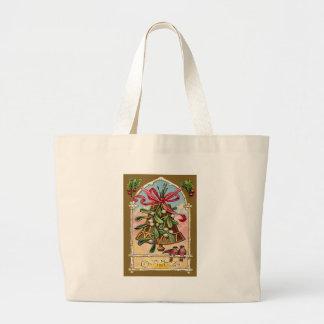 Bell Mistletoe Holly Christmas Bird Jumbo Tote Bag