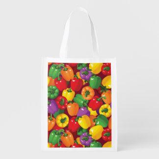 Bell Pepper Pattern Reusable Grocery Bag