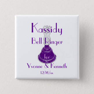 """""""Bell Ringer"""" w/ Names and Wedding Date 15 Cm Square Badge"""