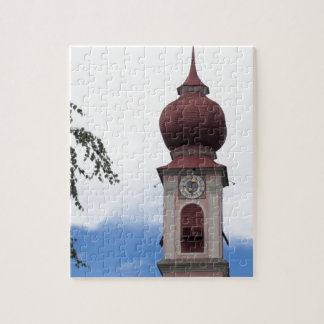 Bell tower, parish church . Ortisei, Val Gardena Jigsaw Puzzle
