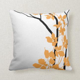 Bella Cherry Blossoms | tangerine orange white Cushion