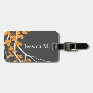 Bella Swirling Vines Blossom charcoal tangerine Luggage Tag
