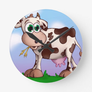 Bella The Cow Eating Hay on a Hill Top Round Clock