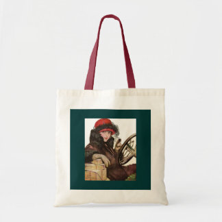 Belle, a vintage lady Christmas shopping Budget Tote Bag