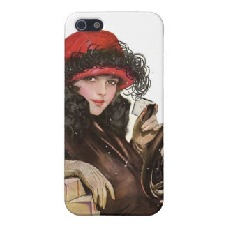 Belle, a vintage lady Christmas shopping Cover For iPhone 5/5S