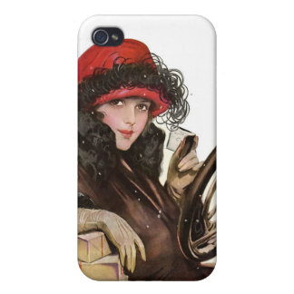 Belle, a vintage lady Christmas shopping iPhone 4/4S Cases