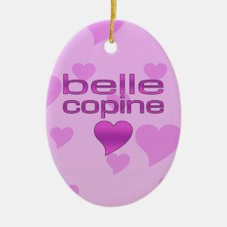 Belle Copine Pink & Purple Love Hearts Ceramic Oval Decoration