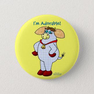 "Belle Cow, ""I'm Adorable!"" 6 Cm Round Badge"