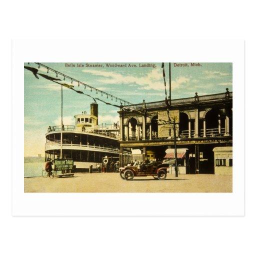 Belle Isle Steamer, Woodward Ave. Landing, Detroit Post Card
