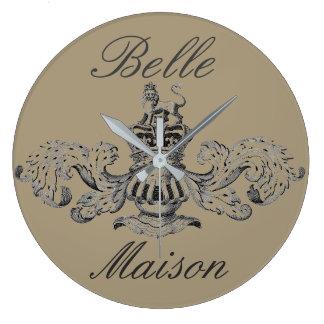"""Belle Maison"" Vintage Heraldic Coat of Arms Large Clock"