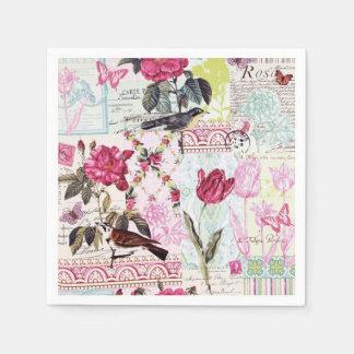 Belle Rose Pink Paper Serviettes