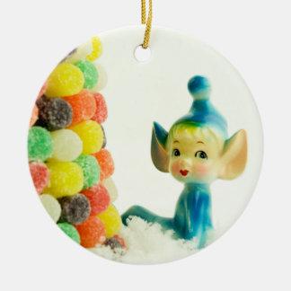 Belle the Pixie Elf Round Ceramic Decoration