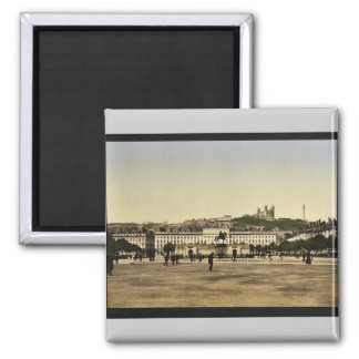 Bellecour Place, Lyons, France vintage Photochrom Square Magnet