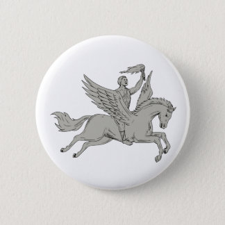 Bellerophon Riding Pegasus Holding Torch Drawing 6 Cm Round Badge
