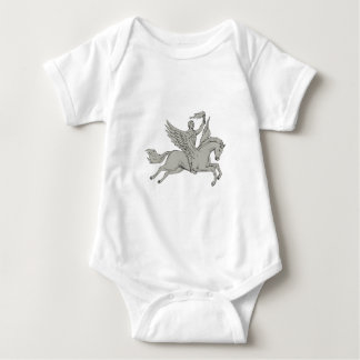 Bellerophon Riding Pegasus Holding Torch Drawing Baby Bodysuit